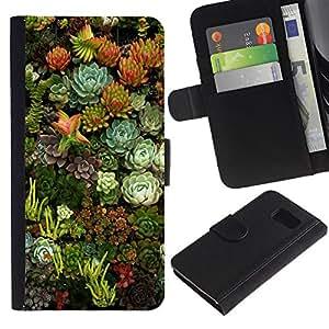 Paccase / Billetera de Cuero Caso del tirón Titular de la tarjeta Carcasa Funda para - Flowers Nature Floral Green Garden - Samsung Galaxy S6 SM-G920