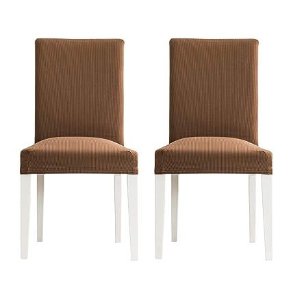 MIULEE Pack de 2 Fundas para Sillas Raya Comedor Fundas Elásticas Modernas bielástico Extraíbles y Lavables Funda Cubiertas para sillas Café