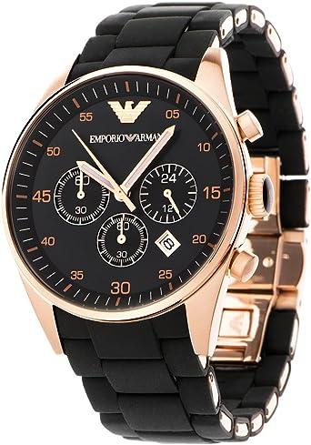 Reloj pulsera de cuarzo con malla de acero inoxidable con silicona ...