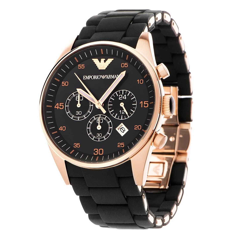 Herren EMPORIO ARMANI AR5905 schwarz Silikon Edelstahl-Quarz-Uhr