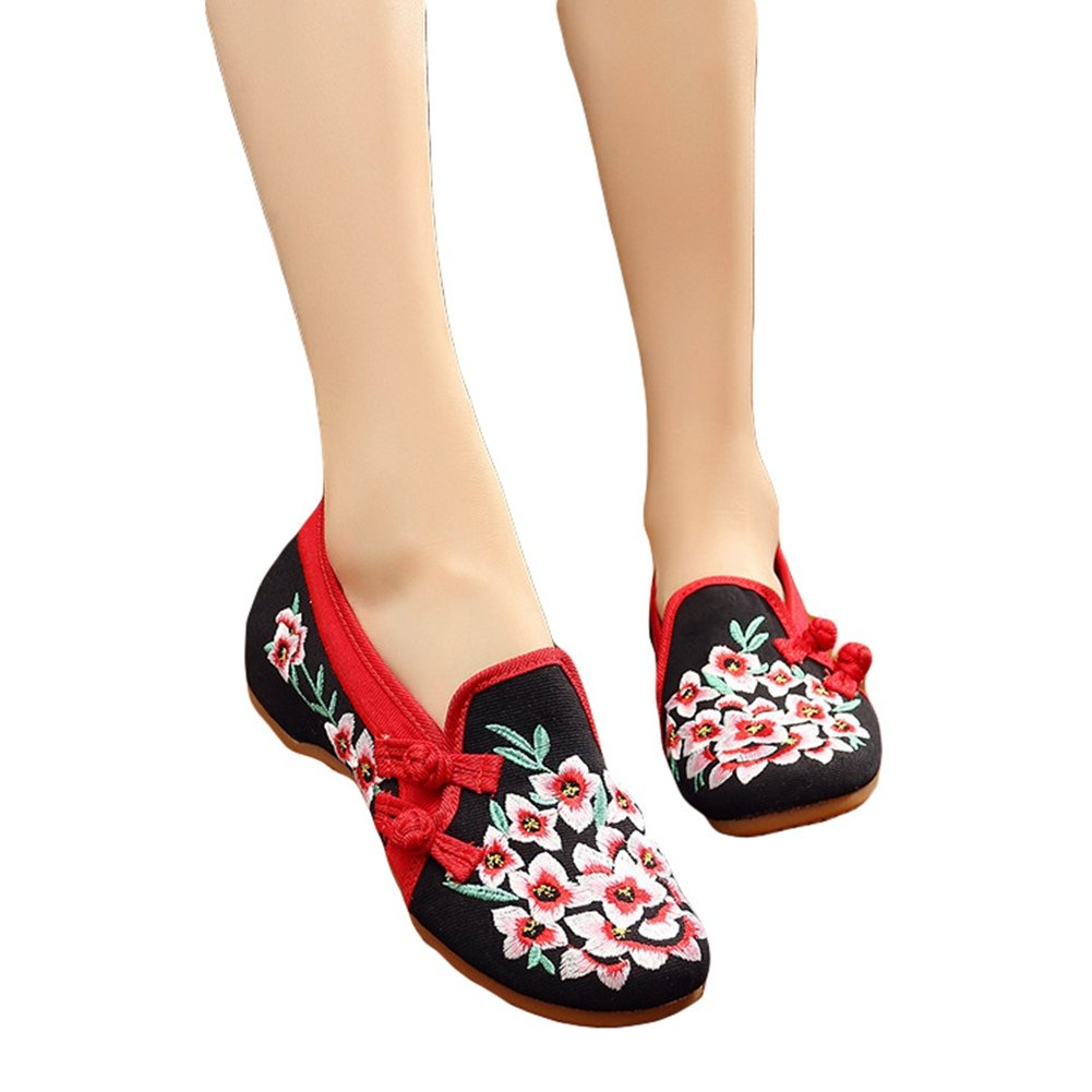 HADM Womens Peachblossom Cotton Embroidered Flat Rubber Sole Casual Dancing Mary Jane Shoes