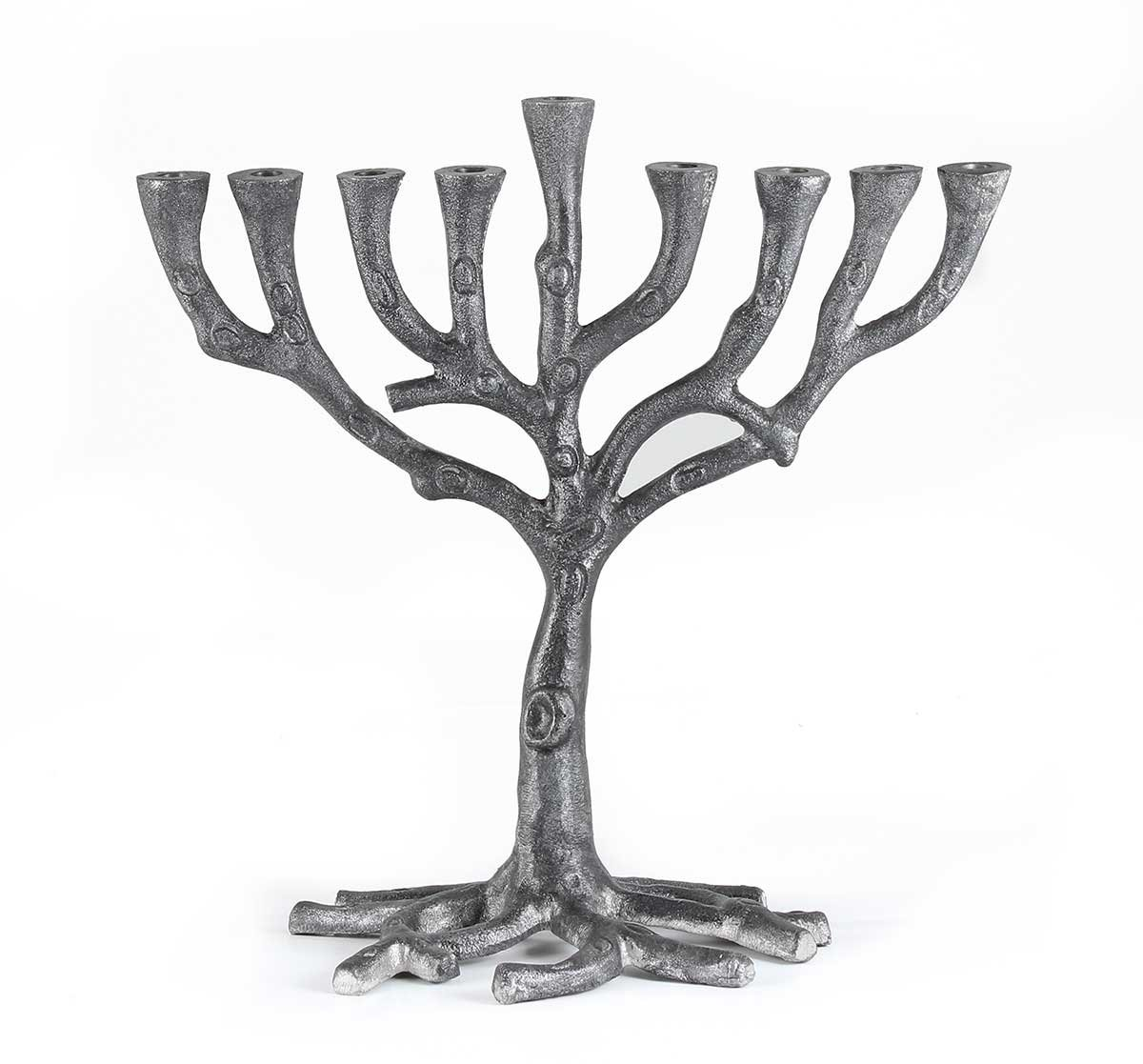 Zion Judaica Hanukkah Menorah Silver Tone Metal Tree of Life Style Zion Judaica Ltd 9802