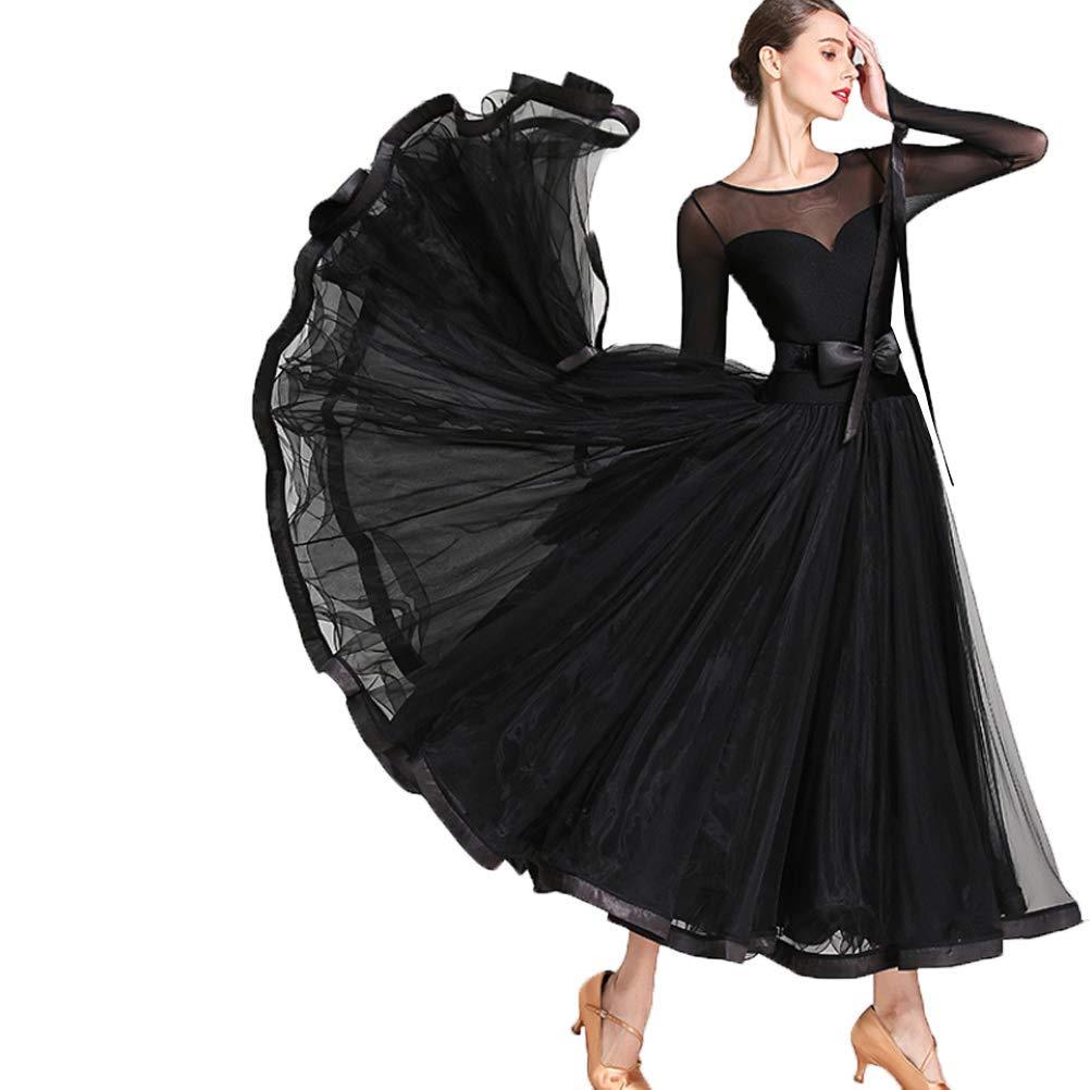 noir M Robes de Salsa de Danse Professionnelles Classique Simple Couture de Maille Costume Modern Perforhommeces Valse Tango Foxtrouge Grande Robe de Balançoire