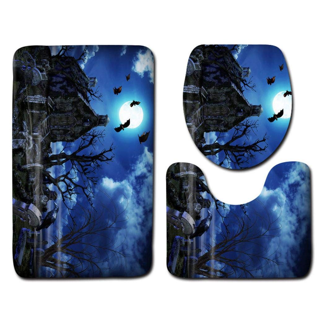 Halloween Pumpkin Monster Witch Black Cat Toilet Seat Cover and Rug Bathroom Mats Set Halloween Decor (E)