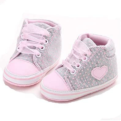 153b36c8ea ICCUN Baby Girls Kids Casual Dot Print Lace-Up Round Toe Flat Canvas Shoes  Sneakers