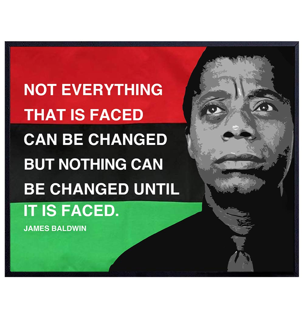 8x10 Civil Rights Home Decor James Baldwin Quote Classroom Decoration on African American Flag Black Leaders Inspirational Wall Art Print Black History Month Gift for Teacher Unframed Poster
