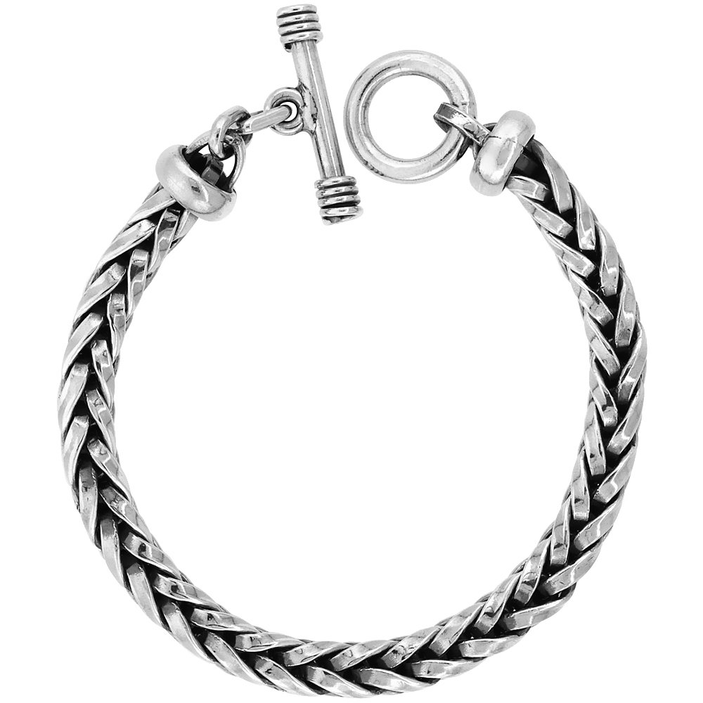 Sterling Silver Handmade Wheat Link Bracelet Toggle Clasp Handmade 3/8 inch wide, 8 inch long