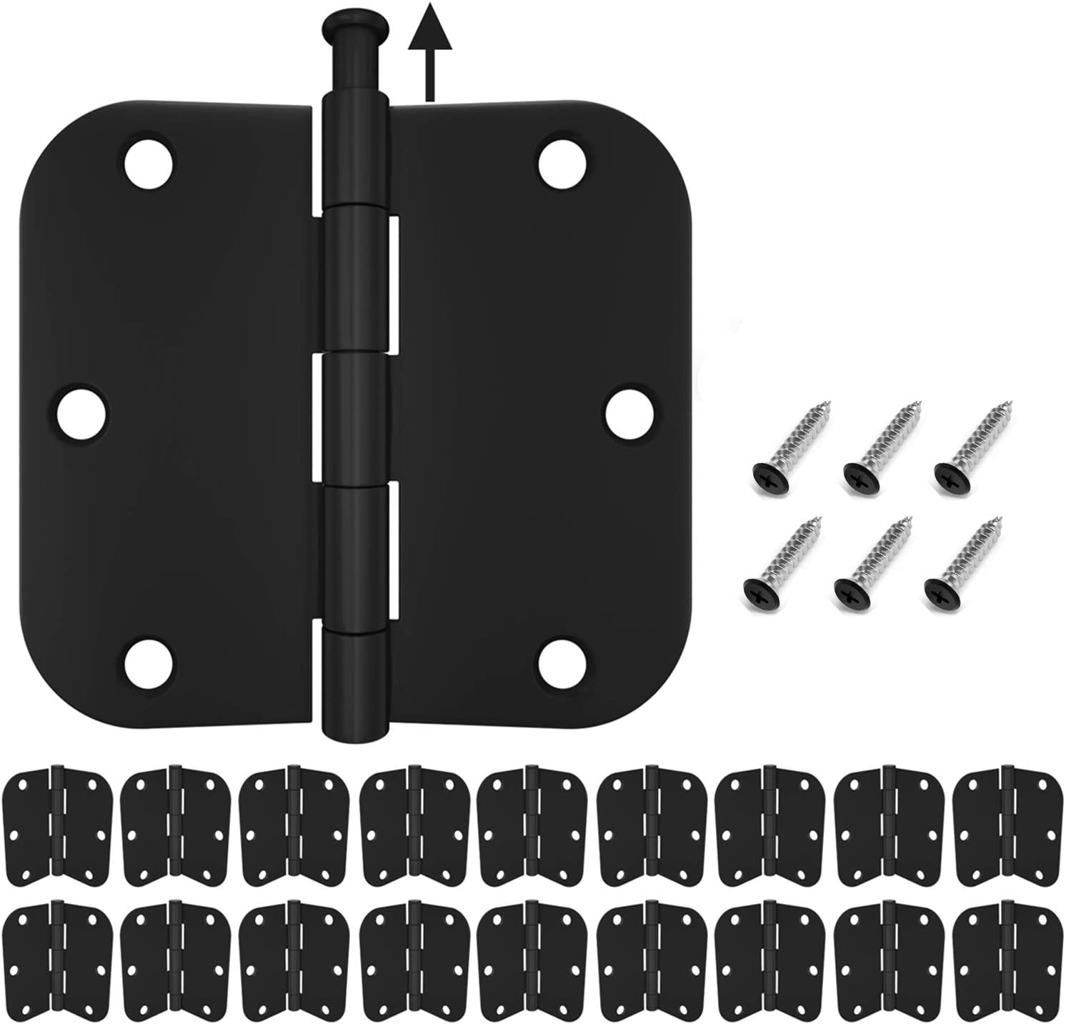 HOSOM 18-Pack Door Hinges Matte Black 3.5, Hinges for Interior Doors with 5/8 Radius Corners