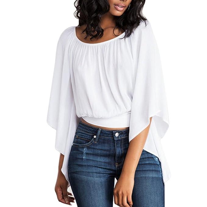 Sky Mujeres Halter Blanco Trompeta Manga Corta Camiseta Camiseta Floja Backless Solid Loose O-Neck