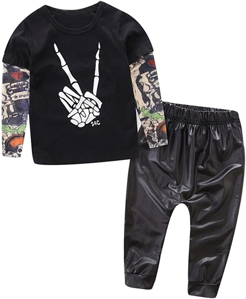 HCFKJ Reci/éN Nacido Ni/ñO Beb/é Esqueleto Tatuaje Camiseta Tops Pantalones Ropa Conjunto