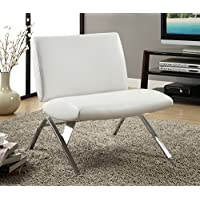 Monarch Specialties White Leather and Chrome Modern Accent Chair