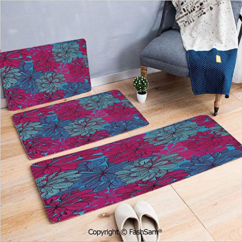 FashSam 3 Piece Flannel Doormat Gentle Psychedelic Flowery Meadow Pattern Abstract Artistic Hippie Style Decorative for Kitchen Rugs Carpet(W15.7xL23.6 by W19.6xL31.5 by W19.6xL59)