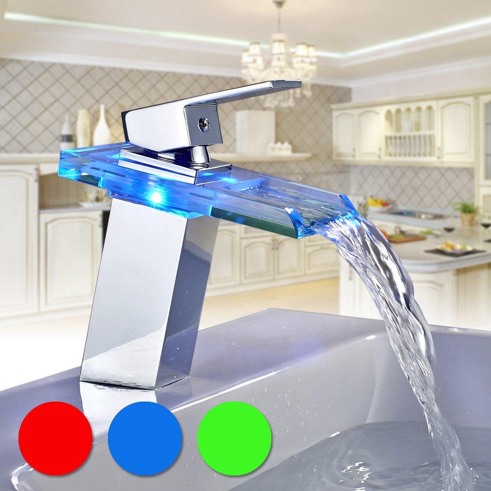 auralum led robinet verre robinets pour lavabo cascade chrom salle de bain et cuisine amazonfr cuisine maison - Lavabo Salle De Bain En Verre