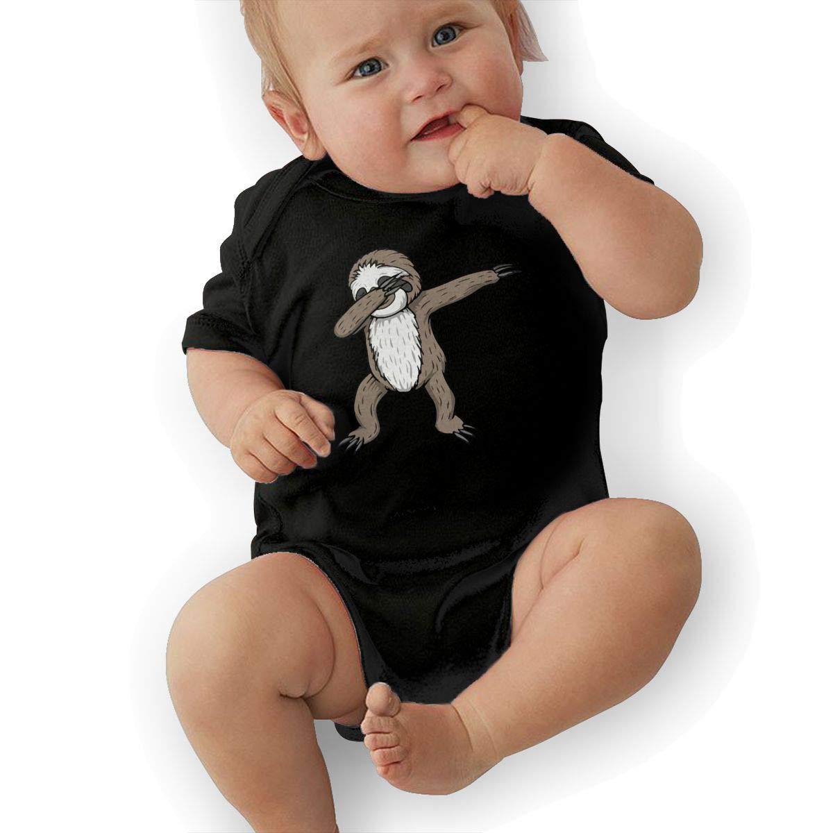 Mri-le2 Baby Girls Short Sleeve Jumper Bodysuit Sloth Dabbing Baby Clothes