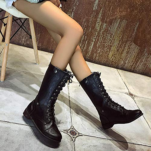 Boots up Ladies Boots Boots Martin Retro Women's Black Soft Ankle Combat Lace Heaven Calf Zip Leather Mid Newday Boots gqIB4R8pE