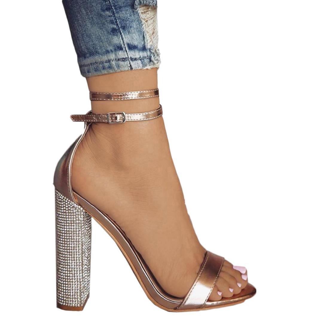 92b6d725bd09e DENER Women Ladies Girls High Heels Sandals,Rhinestones Block Heel Strappy  Arch Support Comfortable Dressy Wedding Shoes