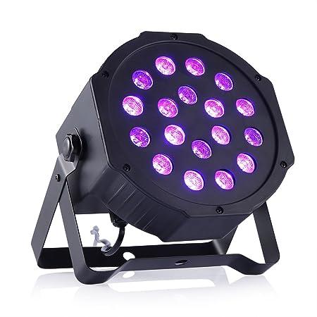 Gledto Blacklight UV LED Stage Light Par Lights 18LED DMX Black Fixture DJ Lighting Equipment