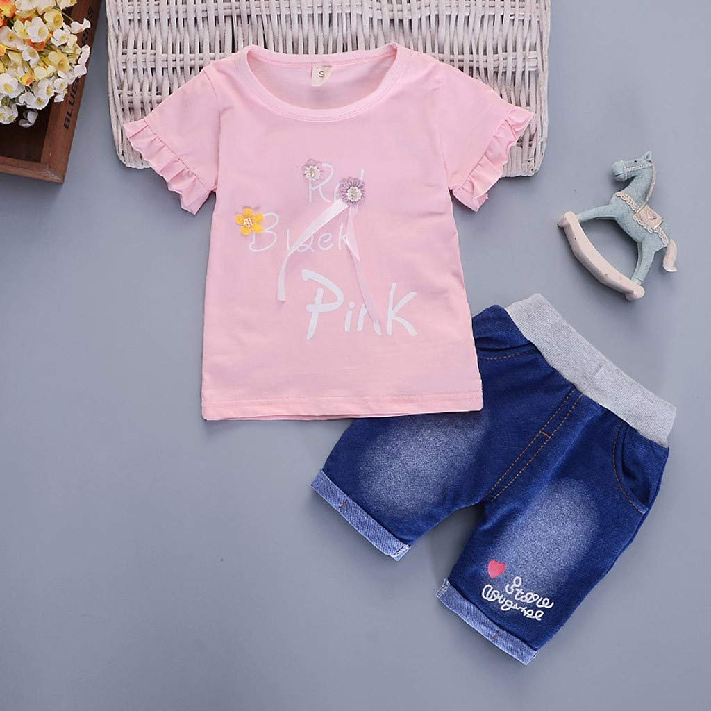 Baby Girls Shorts Set Waymine Infant Solid Letter Pink Flower Top+Jeans Outfit