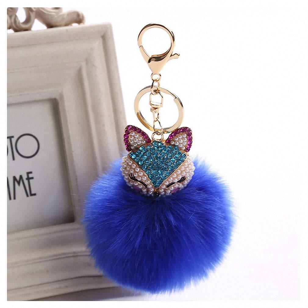 Amazon.com  Womens Charms Crystal Faux Fox Fur Keychain Women Trinkets  Suspension On Bags Car Key Chain Key Ring Toy Gifts Llaveros Jewelry 7C0394  Blue  ... f0fe8615b4
