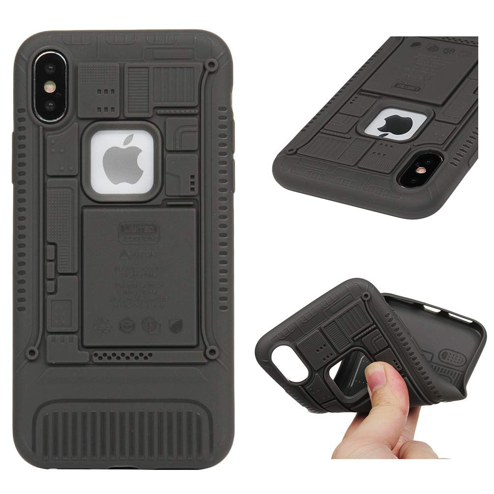 iPhone X Case, iPhone Xs Case Clear Slim Phone Solid Cover Soft Flexible TPU Shockproof Full Body Protective Shield Anti-Scratch Rubber Bumper Cases for iPhone X/XSGray