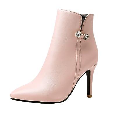 UH Damen Stiefeletten High Heels Spitze Stiletto Ankle Boots