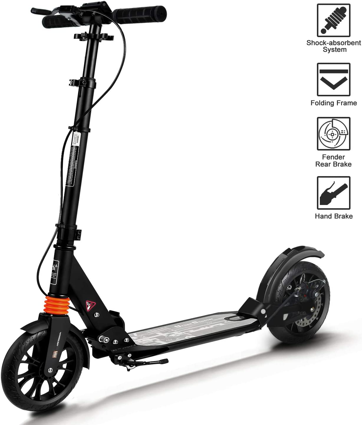 Adult Scooter 2019 Upgraded Kick Scooter Height-Adjustable Foldable Dual Suspension Rear Fender Brake Lightweight Aluminium Alloy Commuter 220lb Max ...