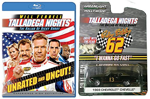 Talladega Nights Blu-ray with Greenlight 1969 Chevrolet Chevelle (with Cougar Figure) 1:64 Die-Cast Car Bundle