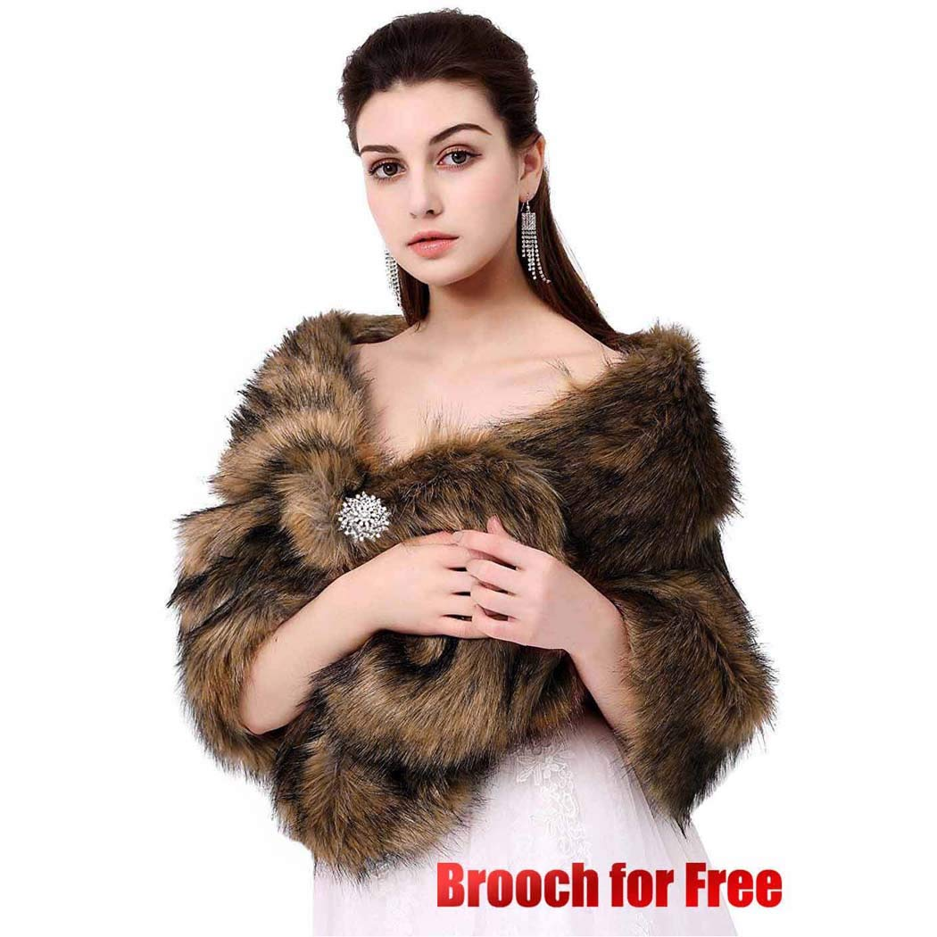 Aukmla Sleeveless Faux Fur Shawl Wedding Fur Wraps and Shawls Bridal Fur Stole for Brides and Bridesmaids
