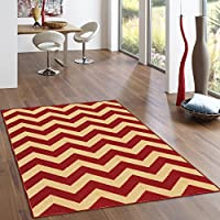 Rubber Backed 3-Piece Rug SET Rich Chevron Red & Beige Zig Zag Area Non-Slip Rug - Rana Collection Kitchen Dining Living Hallway Bathroom Pet Entry Rugs RAN2060-3PC