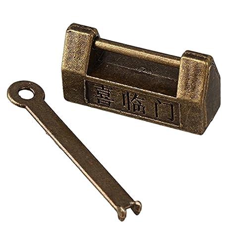 Retro Estilo Chino Antiguo Candado De Bloqueo Bronzy Cerraduras Antigüedad De La Vendimia