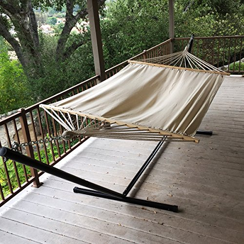 Outdoor large canvas fabric hammock swing chair hanging for Outdoor hanging bed swing