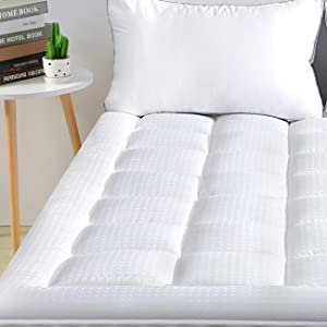 """viewstar Mattress Pad King Cooling Cotton Mattress Topper Cover,Extra Thick Pillow Top Quilted Fitted Bed Cover with Snow Down Alternative Fill,6-21"""" Deep Pocket for King Size Bed Soft and Breathable"""