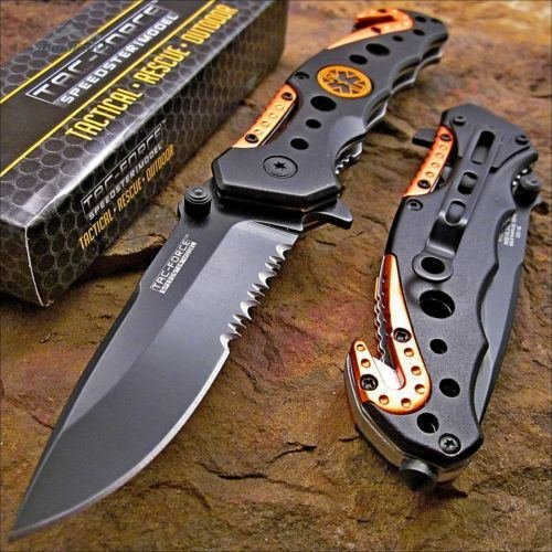 Factory Manufactured TAC-Force Knife Blade EMT EMS Orange Rescue Folding Pocket