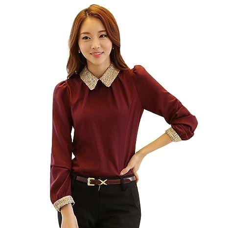 hrph Blusas de las mujeres giro hacia abajo cuello de la camisa de la blusa de