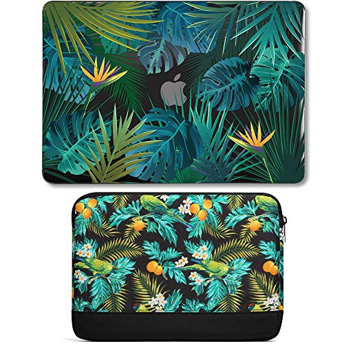 GMYLE MacBook Air 13 Inch Case A1466 A1369 Old Version 2010 2017 and 13 13.3 Inch Soft Carrying Sleeve Bag 2 in 1 Set (Tropical Summer Leaf in Dark) (Best 2 In 1 Laptops 2015 Under $500)