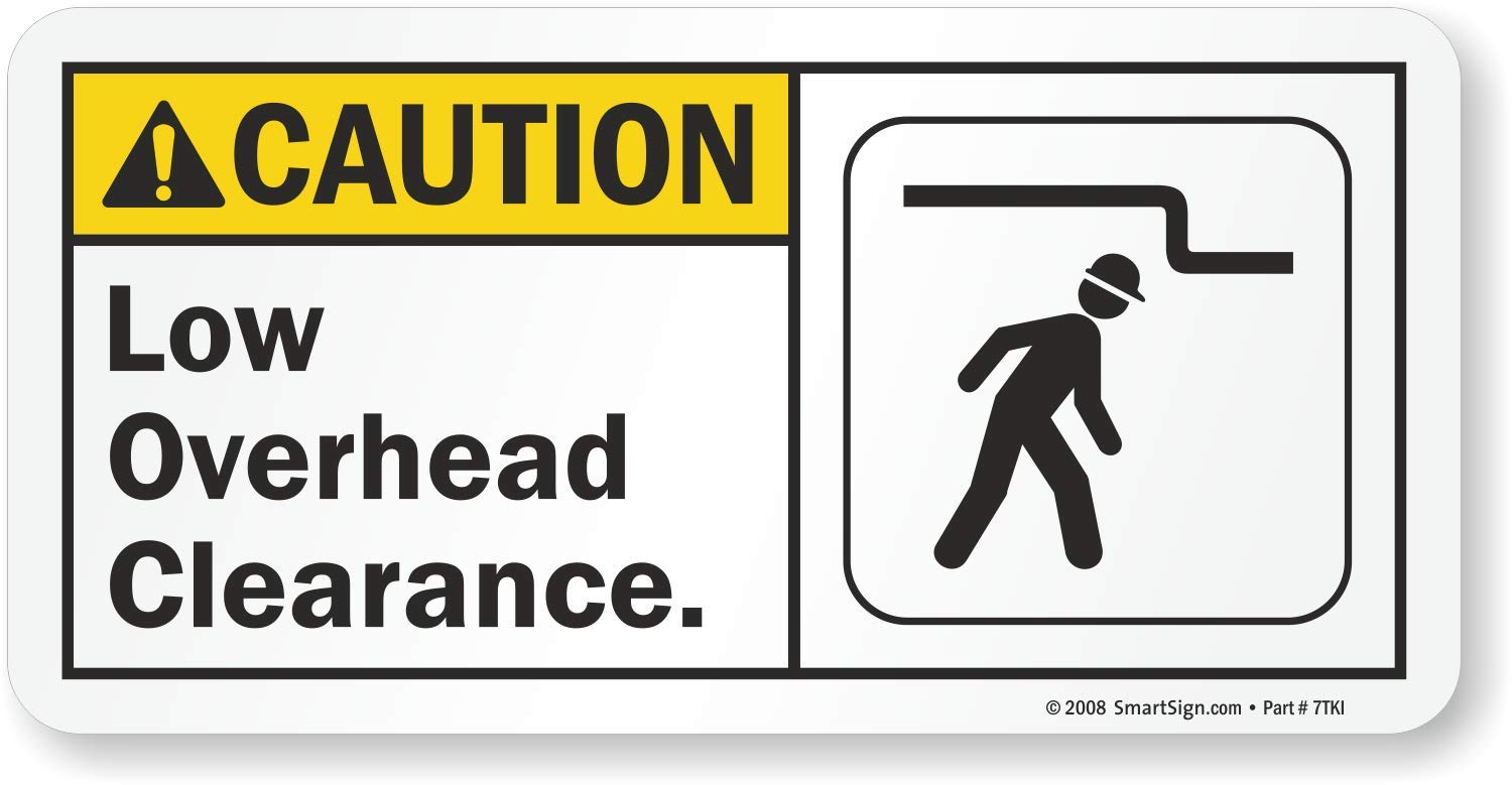 LegendCaution: Low Overhead Clearance 5 High X 10 Wide Black//Yellow on White SmartSign Aluminum Sign