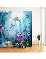 LB Shower Curtain with Hooks for Bathroom