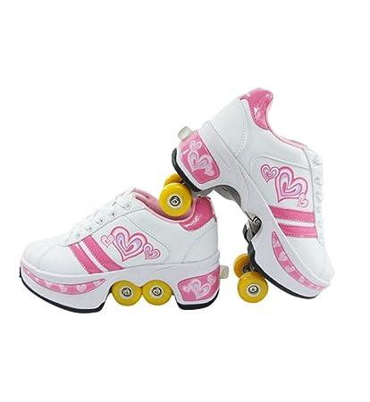 QINAIDI Patines De Hielo Polea Zapatos De Deformación Multifuncional Patinaje sobre Ruedas De Patinaje Cuádruple Deportes
