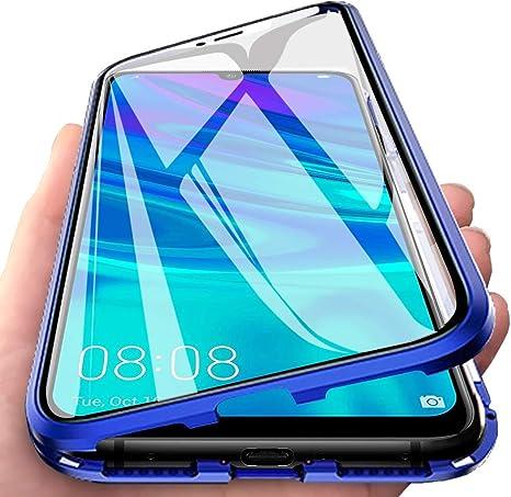 Funda para Huawei P Smart 2019, Adsorción Magnética Cubierta Vidrio Templado Frontal y Posterior Flip Case Marco Metal Bumper Funda Anti Choque Protección 360 Grados Carcasa, Azul: Amazon.es: Electrónica