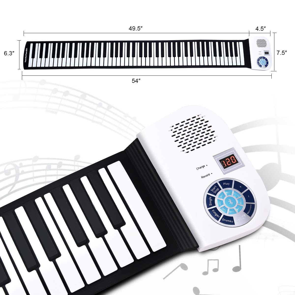 BABY JOY Roll Up Piano, Upgraded Electronic Piano Keyboard, Portable Piano w/Bluetooth, MP3 Headphone USB Input, MIDI OUT, 128 Rhythms, Record, Play, Volume Control (White, 88Keys) by BABY JOY (Image #3)