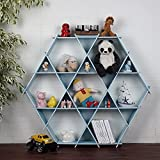 LaModaHome Cardboard Shelf 100% Corrugated Cardboard (45.3'' x 39.4'' x 6.7'') Blue Hexagon Triangle Bedroom Design Decorative Kid Storage Shelf Multi Purpose