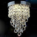 Surpars House Flush Mount Crystal Chandelier 3-Light Led Bulbs Included Chrome Silve