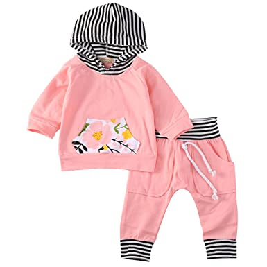 998fa8c64387 Newborn Baby Girls Warm Hoodie T-shirt Top + Floral Pants Outfits Set Kids  Clothes: Amazon.co.uk: Clothing