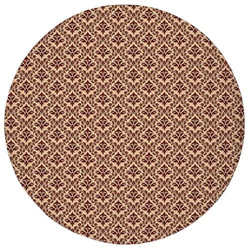 Round Rug Mat Carpet,Damask,Old Baroque Natural Pattern Organic Foliage Victorian Garden Renaissance Tile,Peach Redwood,Flannel Microfiber Non-Slip Soft Absorbent,for Kitchen Floor - Renaissance Boot Microfiber