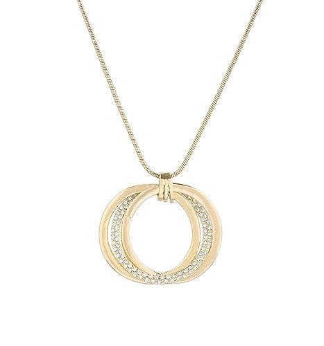 VUJANTIRY Women s Triple Circle Pendant Necklace Crystal Interlocking  Pendants Long Necklace Lariat Necklace e9bc2d9b0