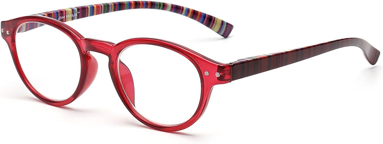 Anti Luz Azul Retro Bisagras de Resorte Redondo Ordenador Gafas de Lectura Juego Lectores Reduce Fatiga Visual +4.0 Rojo