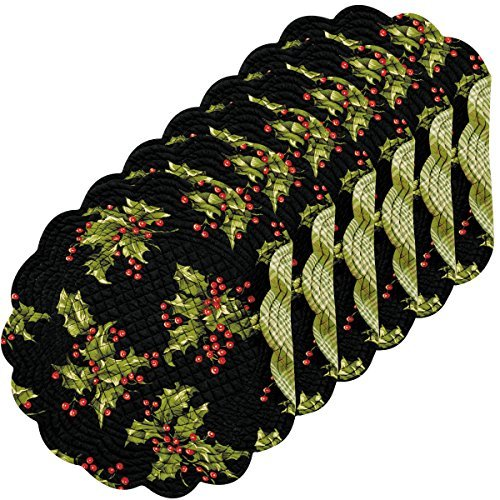 - C&F Home - Holly Black Round Placemat Set of 6, 17