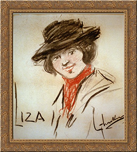Drawing of Eliza Doolittle, a character from George Bernard Shaw's play Pygmalion 24x20 Gold Ornate Wood Framed Canvas Art by George Luks