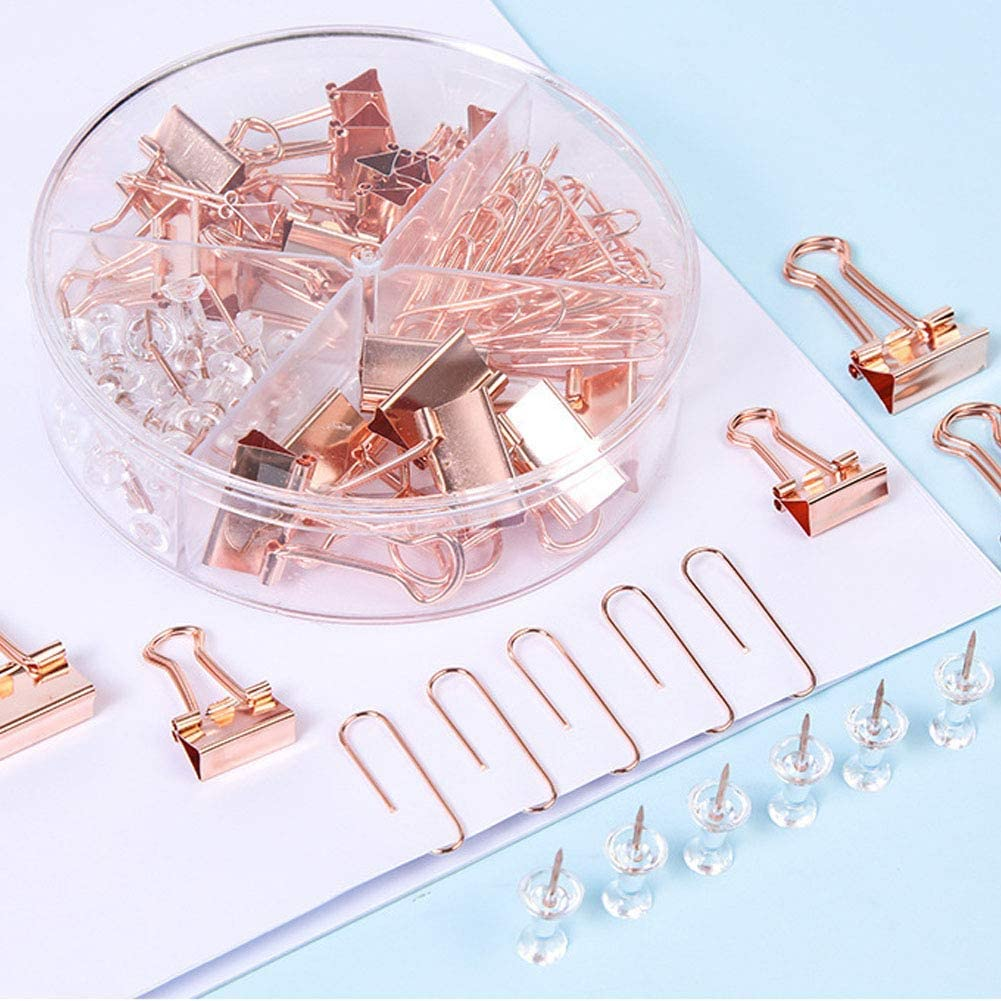 Push Pins, Paper Clips and Binder Clips Thumb Tacks Set Assorted Sizes with Holder Non-Skid for Office Home Desk Supplies, Metal 92 Count (Rose Gold)