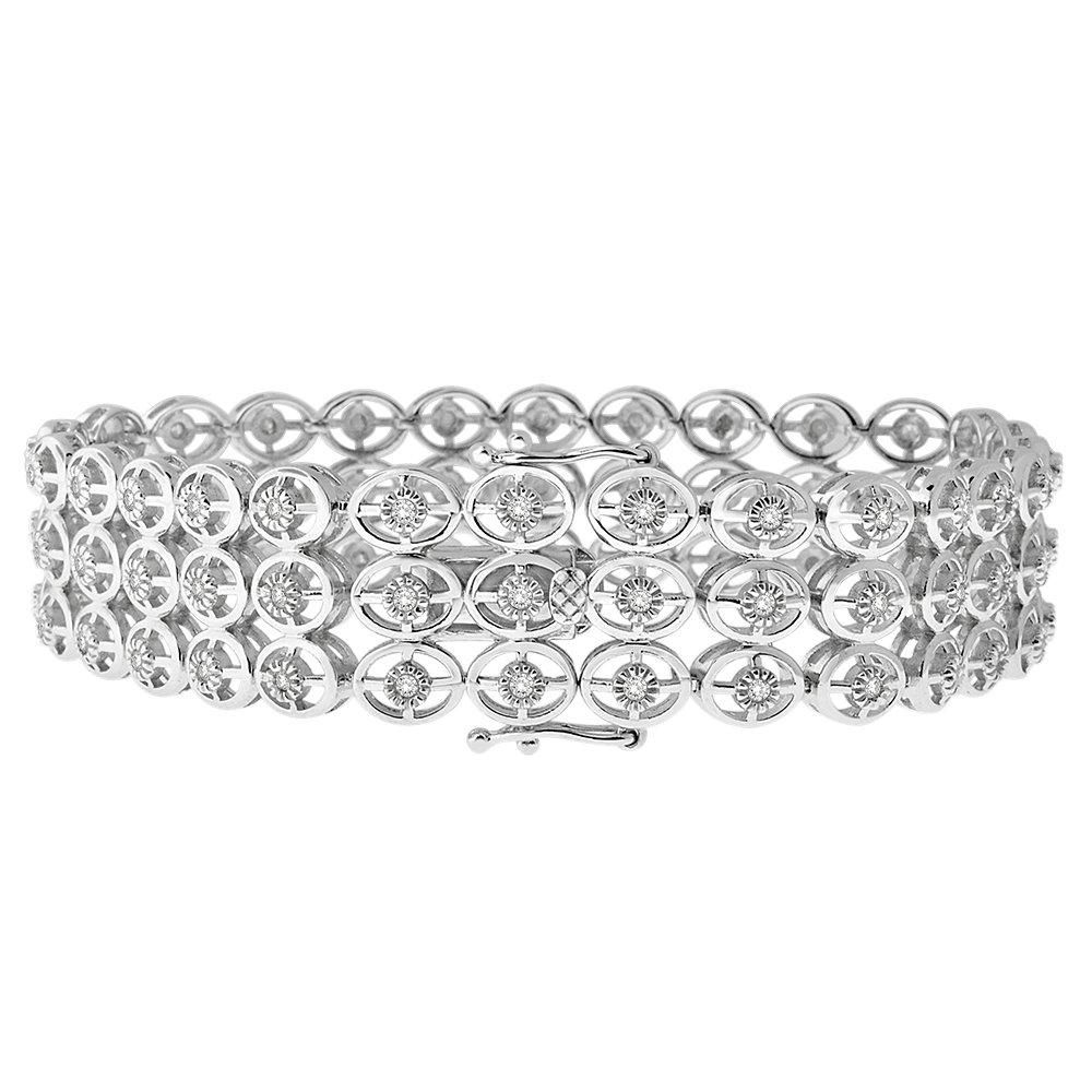 Sterling Silver Three Row Diamond Bracelet 1 CTTW